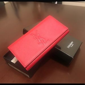 Yves Saint Laurent YSL red wallet w/ chain